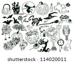 halloween objects collection ... | Shutterstock .eps vector #114020011
