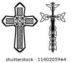 set of celtic crosses with... | Shutterstock .eps vector #1140205964