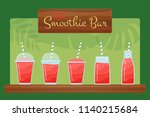 red natural fruit smoothie... | Shutterstock .eps vector #1140215684