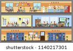 school building interior and... | Shutterstock .eps vector #1140217301
