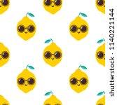 lemon with sunglasses. seamless ... | Shutterstock .eps vector #1140221144