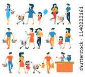 set of people in supermarket... | Shutterstock .eps vector #1140222161