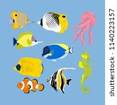 tropical fish on the blue... | Shutterstock . vector #1140223157