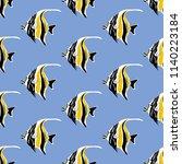moorish idol fish seamless... | Shutterstock . vector #1140223184