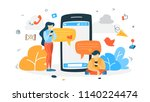 young happy people chatting... | Shutterstock .eps vector #1140224474