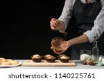 The Chef Prepares Sweets  On A...