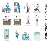man daily routine. waking up ... | Shutterstock .eps vector #1140226061