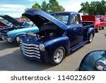 FREDERICK, MD- SEPTEMBER 16: 1953 Blue Chevy Pickup Truck on Sept. 16, 2012 in Frederick , MD USA. Alzheimer's Association Benefit Car Show at Motor Vehicle Administration in Maryland. - stock photo