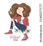 cute girl vector design... | Shutterstock .eps vector #1140227177