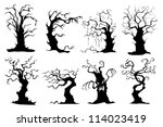 vector illustration of collection of colorful tree