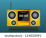 yellow clock radio  vector... | Shutterstock .eps vector #114023491