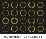 golden vector laurel wreaths on ... | Shutterstock .eps vector #1140238361