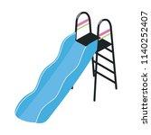 playground slide with ladder... | Shutterstock .eps vector #1140252407
