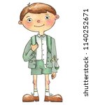 schoolboy watercolor character... | Shutterstock . vector #1140252671