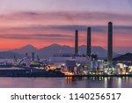 power station at dusk | Shutterstock . vector #1140256517
