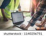 engineer and worker planning... | Shutterstock . vector #1140256751