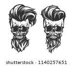 illustration of skull with hair ... | Shutterstock .eps vector #1140257651