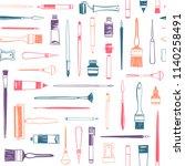 art supplies  printmaking tools ... | Shutterstock .eps vector #1140258491
