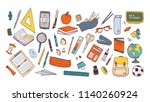 collection of school supplies... | Shutterstock .eps vector #1140260924