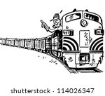 engineer in locomotive   retro... | Shutterstock .eps vector #114026347