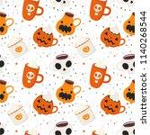hand drawn halloween seamless... | Shutterstock .eps vector #1140268544