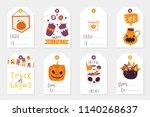 set of 8 halloween gift tags.... | Shutterstock .eps vector #1140268637