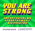 you are strong  super hero font.... | Shutterstock .eps vector #1140270797