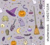 set for halloween in cartoon...   Shutterstock .eps vector #1140271154