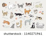 different doodle cats and dogs... | Shutterstock . vector #1140271961