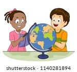illustration of kids looking at ... | Shutterstock .eps vector #1140281894