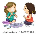 illustration of kid girls... | Shutterstock .eps vector #1140281981