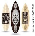 vector surf boards    tiki mask ... | Shutterstock .eps vector #114028201
