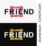 friend word in square yellow... | Shutterstock .eps vector #1140291284