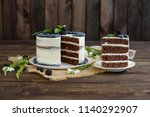 beautiful tasty cake with white ...   Shutterstock . vector #1140292907
