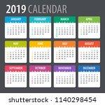 2019 calendar   illustration.... | Shutterstock .eps vector #1140298454