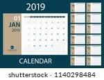 2019 calendar planner   vector... | Shutterstock .eps vector #1140298484