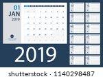 2019 calendar planner   vector... | Shutterstock .eps vector #1140298487