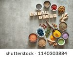 various colorful superfoods as... | Shutterstock . vector #1140303884