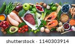 balanced diet food background.... | Shutterstock . vector #1140303914