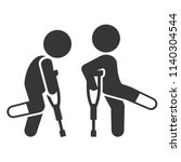 injured men with crutches icon... | Shutterstock .eps vector #1140304544