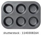 black empty pan for cupcakes... | Shutterstock . vector #1140308264