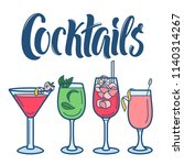 cocktails line art icons... | Shutterstock .eps vector #1140314267
