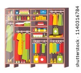 wardrobe closet with drawers... | Shutterstock .eps vector #1140316784