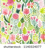 watercolor texture with flowers ... | Shutterstock . vector #1140324077