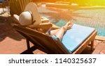 bikini woman sexy in pool... | Shutterstock . vector #1140325637