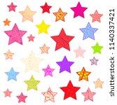 colorful bright stars. sky... | Shutterstock .eps vector #1140337421