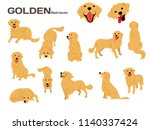 golden retriever illustration... | Shutterstock .eps vector #1140337424