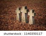 Three Tomb Crosses At Cemetery...