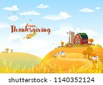 rural scene with the farm and... | Shutterstock .eps vector #1140352124