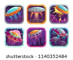 app icons with fighting ufos....   Shutterstock .eps vector #1140352484